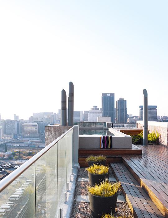 Terraza con vista a Johannesburgo.