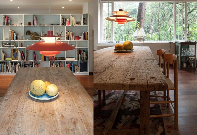 La mesa de comedor es de comino. Las sillas son del danés Borge Mogensen. La lámpara es una clásica PH.