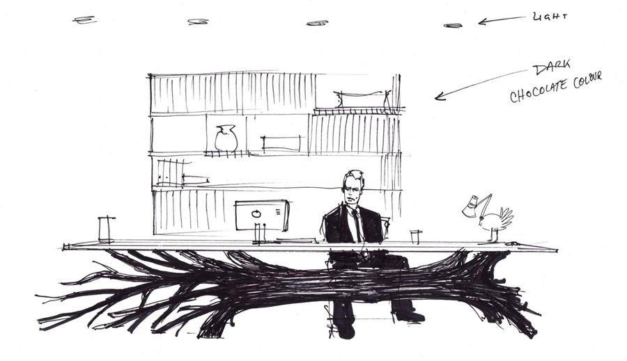 Boceto del diseño de la mesa Tree, del diseñador Sebastían Errázuriz.
