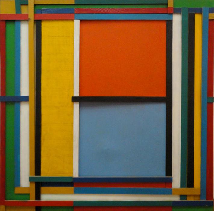 Obra por el artista colombiano Carlos Rojas, madera pintada, 1996.
