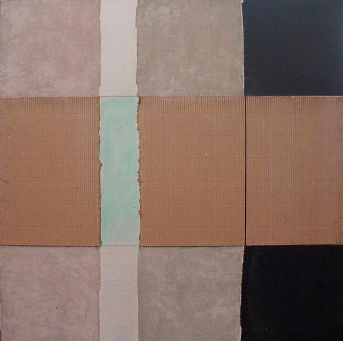 Obra en técnica mixta sobre tela por el artista colombiano Carlos Rojas, 1984.