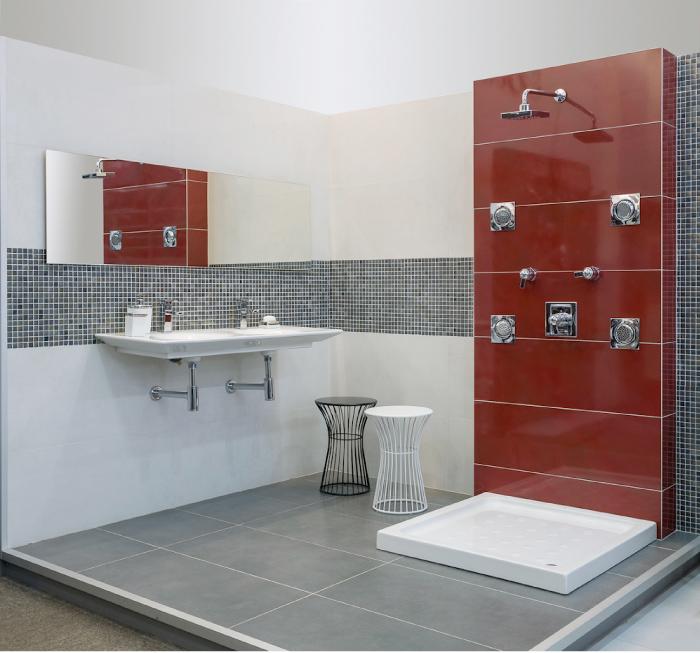 Baño Porcelanato Gris:Piso de porcelanato gris Boutique Luxury, de 45 x 90 centímetros