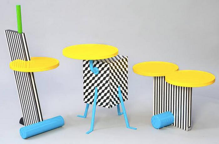 Mesas Falmingo, Kristall y Polar, por el arquitecto y diseñador Michele de Lucchi, integrante del Memphis Group.