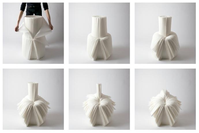 Silla Cabbage diseño de Nendo para la exhibición XXIst Century Man curada por Issey Miyake.