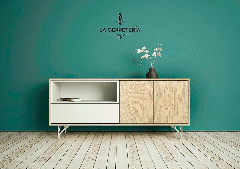 Mueble en madera diseño de La Geppetería.