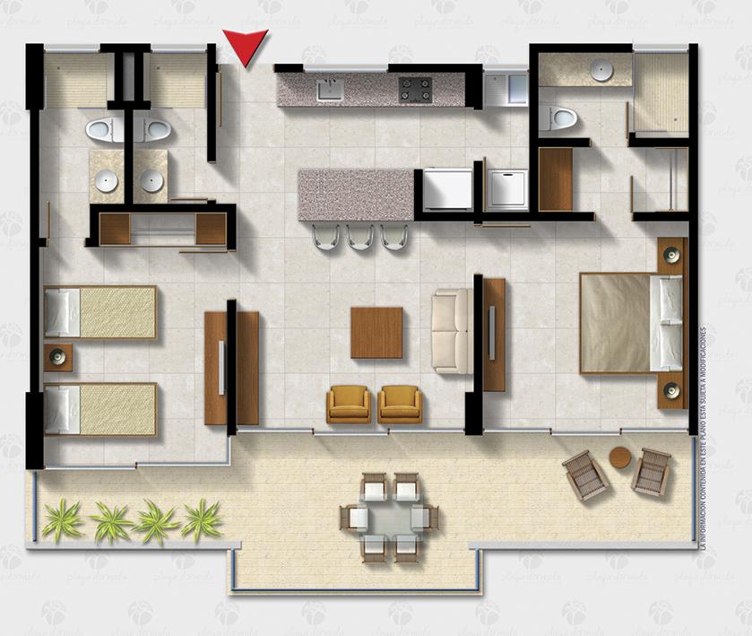 Planta apartamento con dos alcobas y terraza, proyecto Playa Dormida.