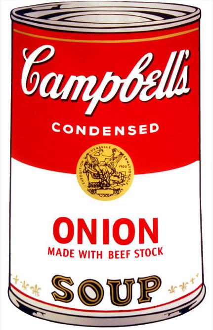 Andy Warhol Campbell Soup Onion, Plancha de 1968 Técnica: Serigrafía Dimensión: 89 cm x 59 cm, exhibida en la tienda de BoConcept de Bogotá en la calle 81 No. 8-42.