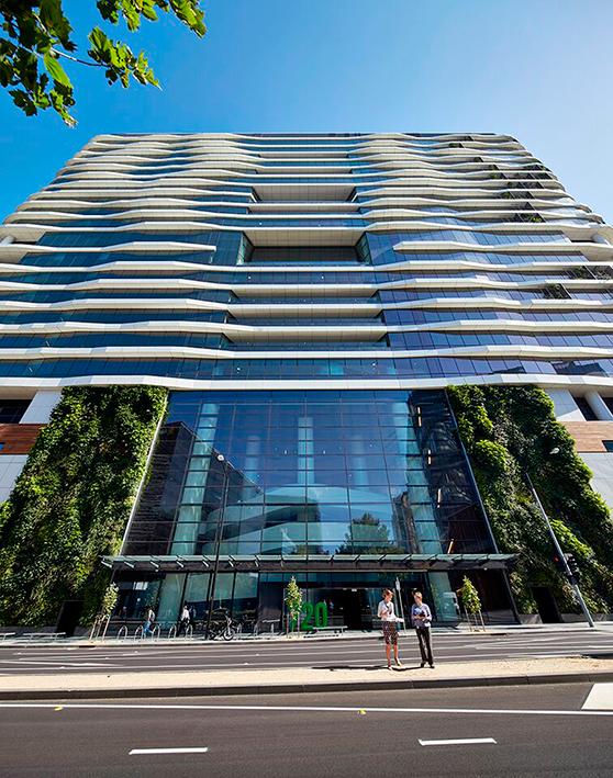 Fachada del edificio Medibank en Melbourne, Australia.
