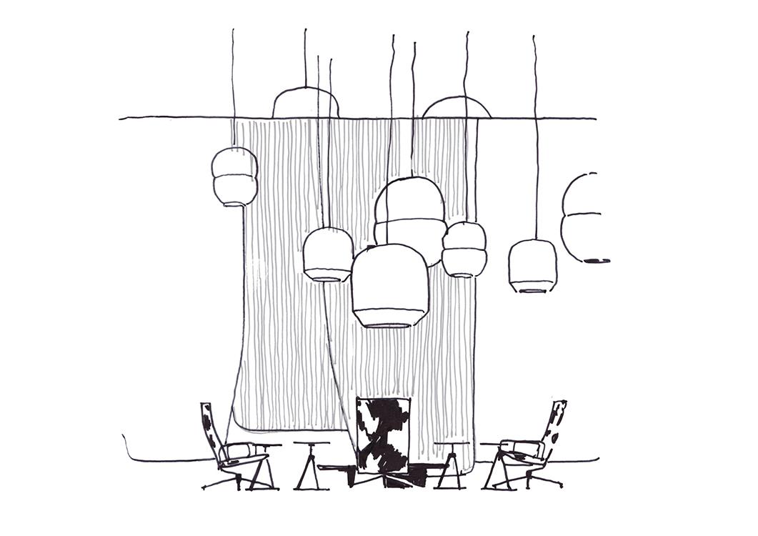 Boceto de la instalación creada exclusivamente para la feria por los invitados de honor: El estudio británico Barber & Osgerby.