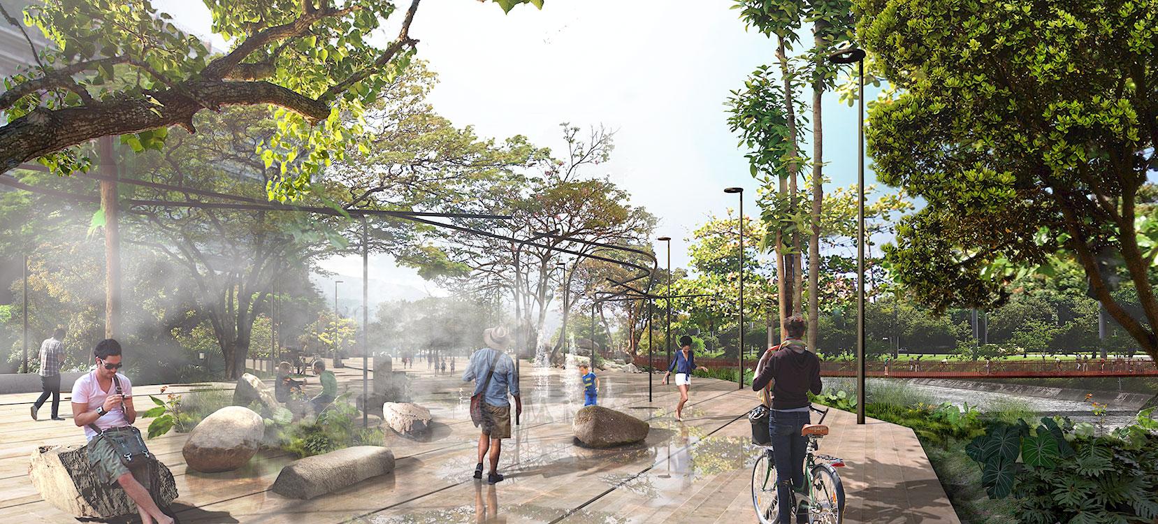 Los Parques del Río Medellín  están diseñados para conectar las dos mitades de la ciudad.