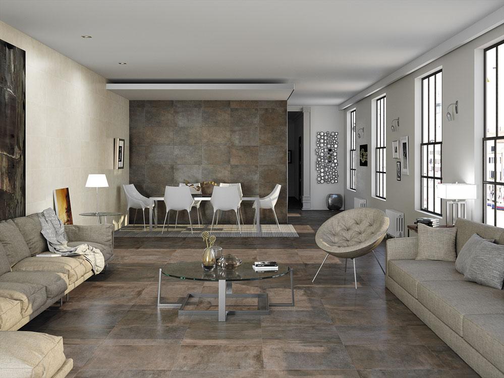 A la medida  La naturalidad de la piedra, en cuanto a sus colores y texturas, se consigue con el impresionante acabado de los porcelanatos, como lo muestra una sala comedor terminada en enchape tipo Oyster ADZ gris rústico, de 40 x 60 cm,  de Decorcerámica.