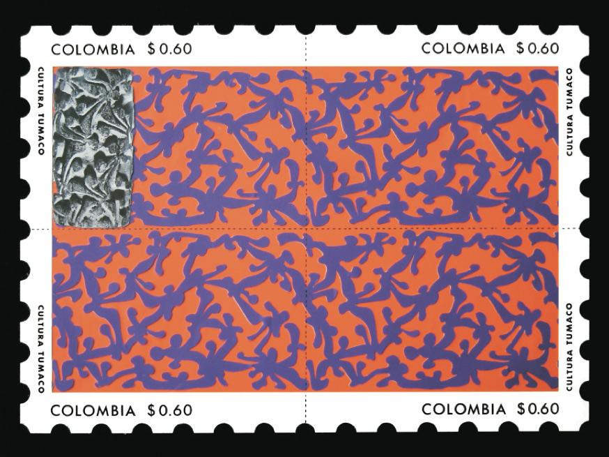 Estampilla diseñada para participar en la Bienal de Artes Gráficas de Cali. Obtuvo una mención.