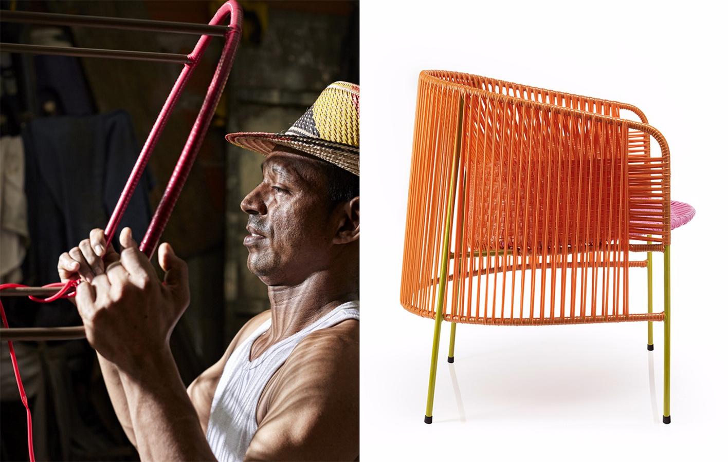 La silla lounge Caribe está hecha en PVC tejido a mano y su estructura es de tubería de acero, diseño de Sebastian Herkner para Ames.