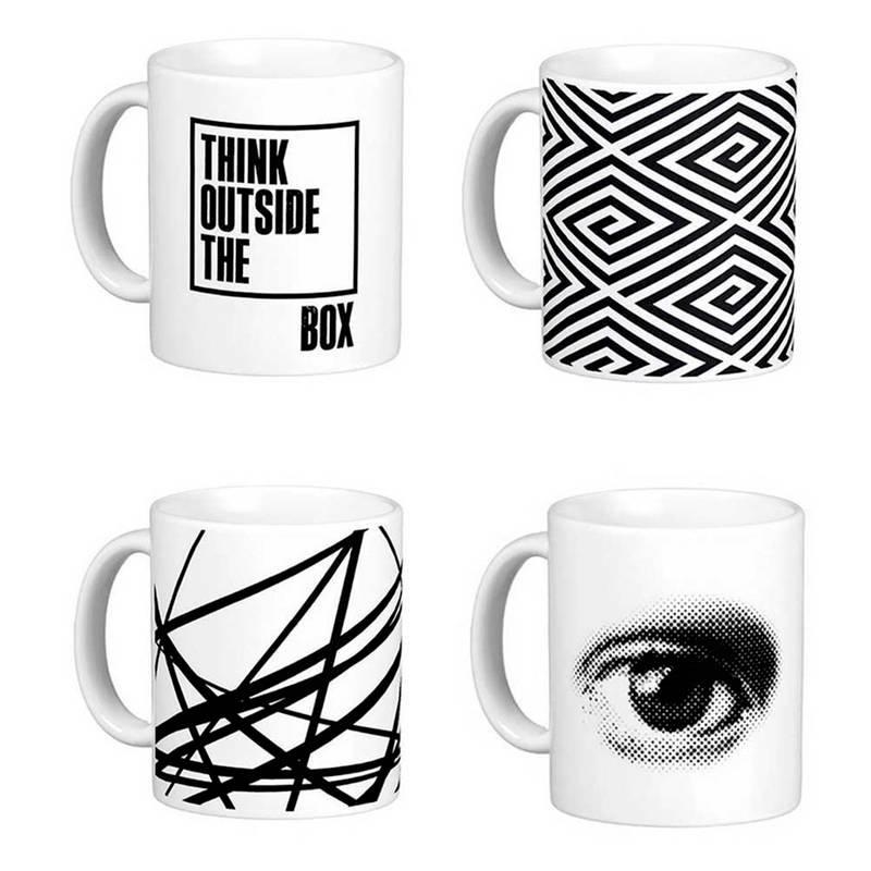 Mugs de la colección Think outside de Box, de 460Studio. Disponible en Tienda Axxis.