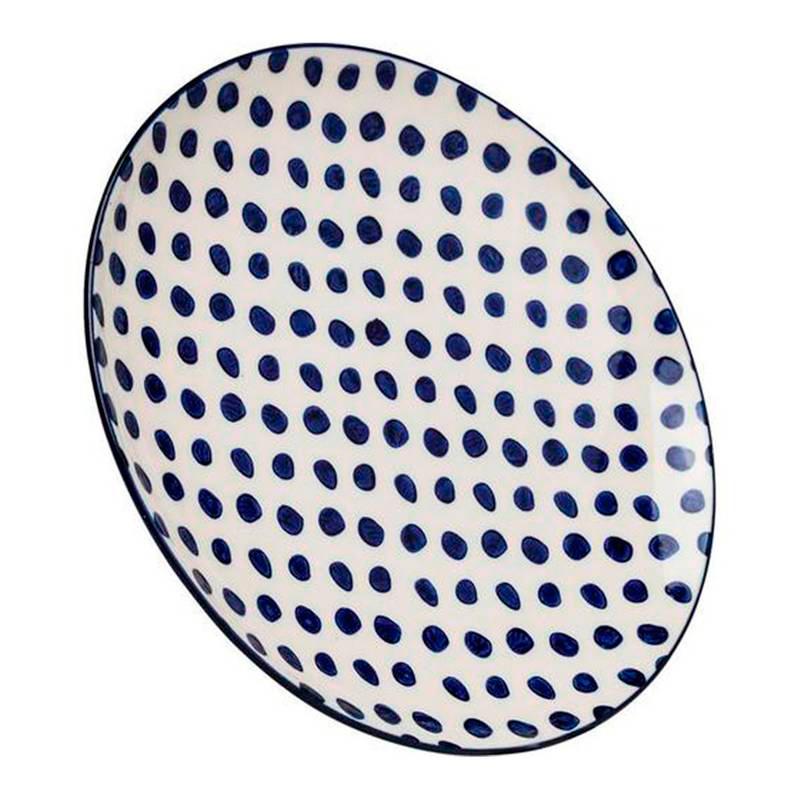Plato Dots Azul de Kare. Disponible en Tienda Axxis.