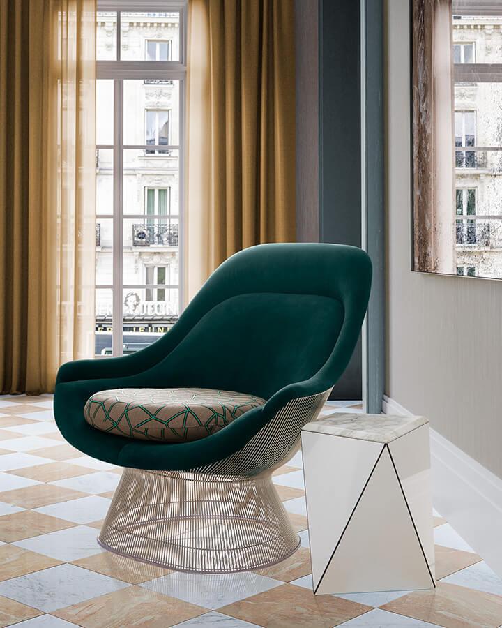 Bonjour es la nueva colección de KnollTextiles, incluye cuatro referencias de tapicería, una cortina opaca y dos revestimientos para pared. Sus diseñadores la definen como una propuesta atrevida, gráfica y arquitectónica. El patrón geométrico parisino arrondissement marcó el proceso creativo para esta línea.
